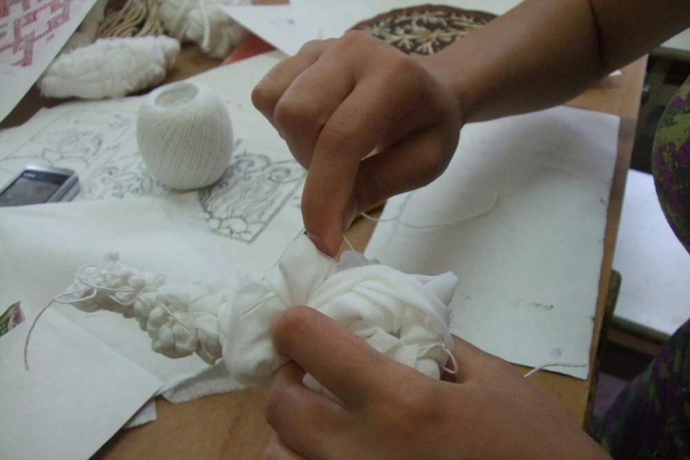 Работа в материале: закладываем рисунок