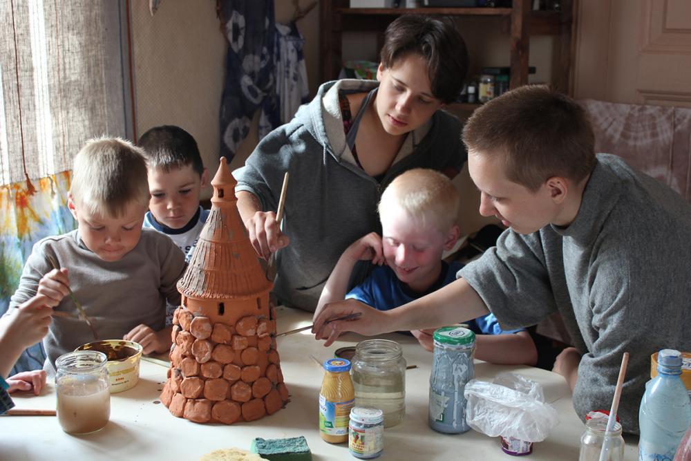 Занятие с местными школьниками «Соловецкая башня»