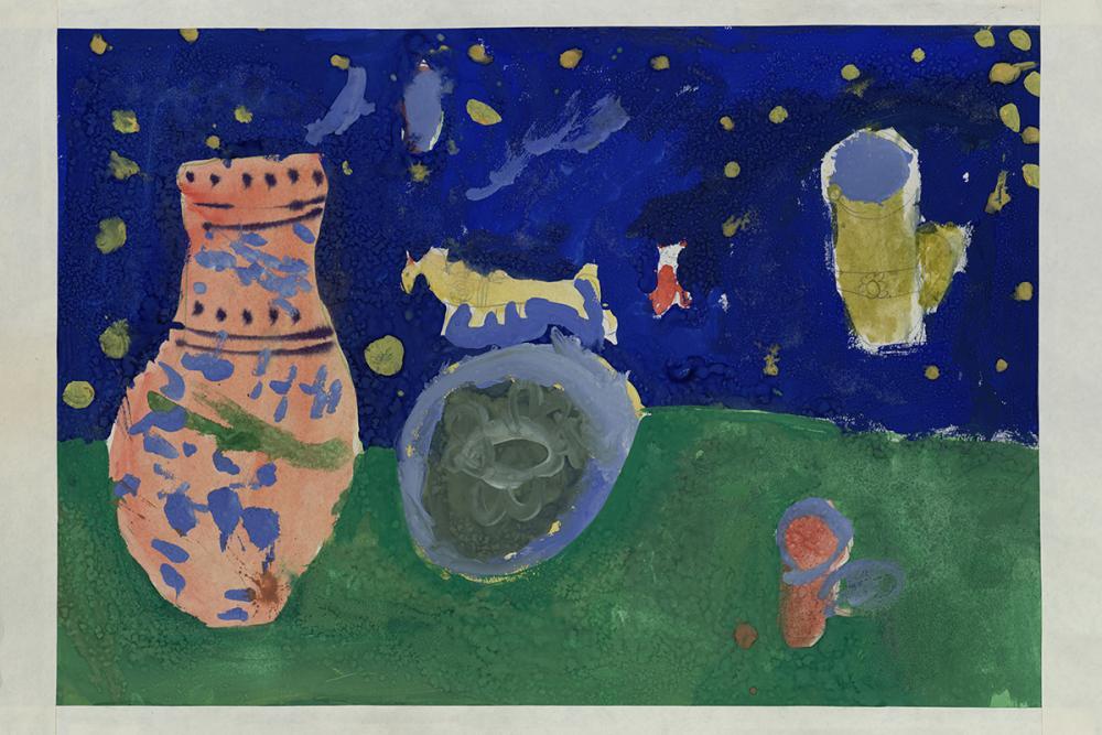 Детский рисунок «Натюрморт с кувшином на фоне звёздного неба и зеленой травы»