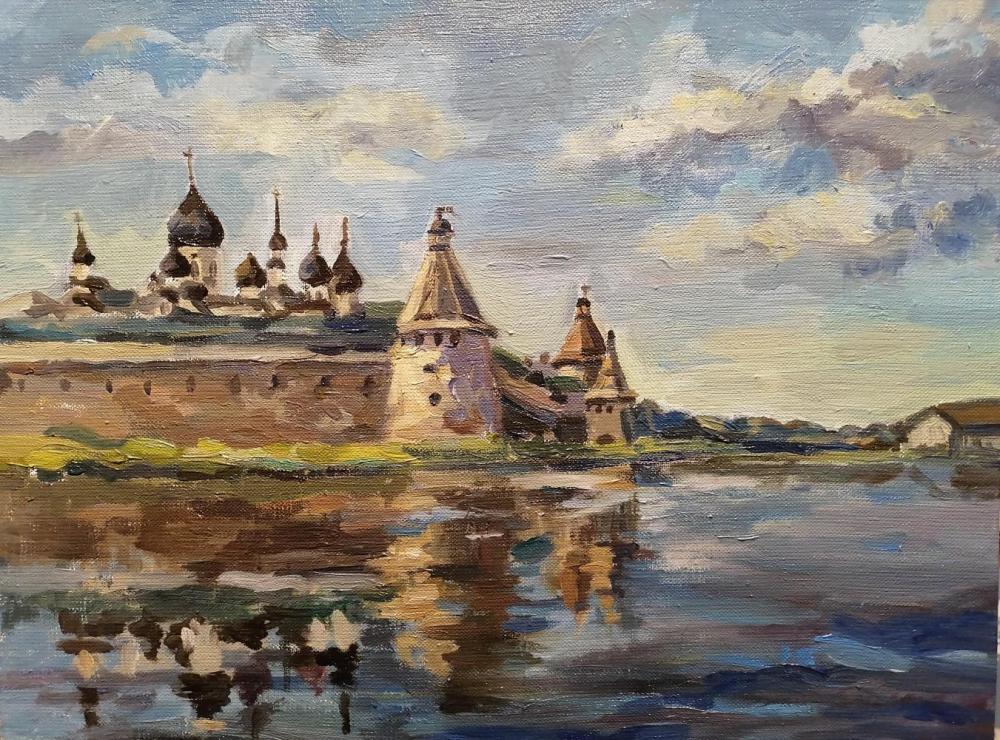 Анна Галахова. Вид на вечерний монастырь со стороны Святого озера