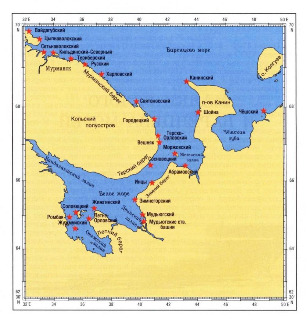 Карта маяков Белого моря. Источник фото: http://www.mayachnik.ru/sites/default/files/image18.jpeg.