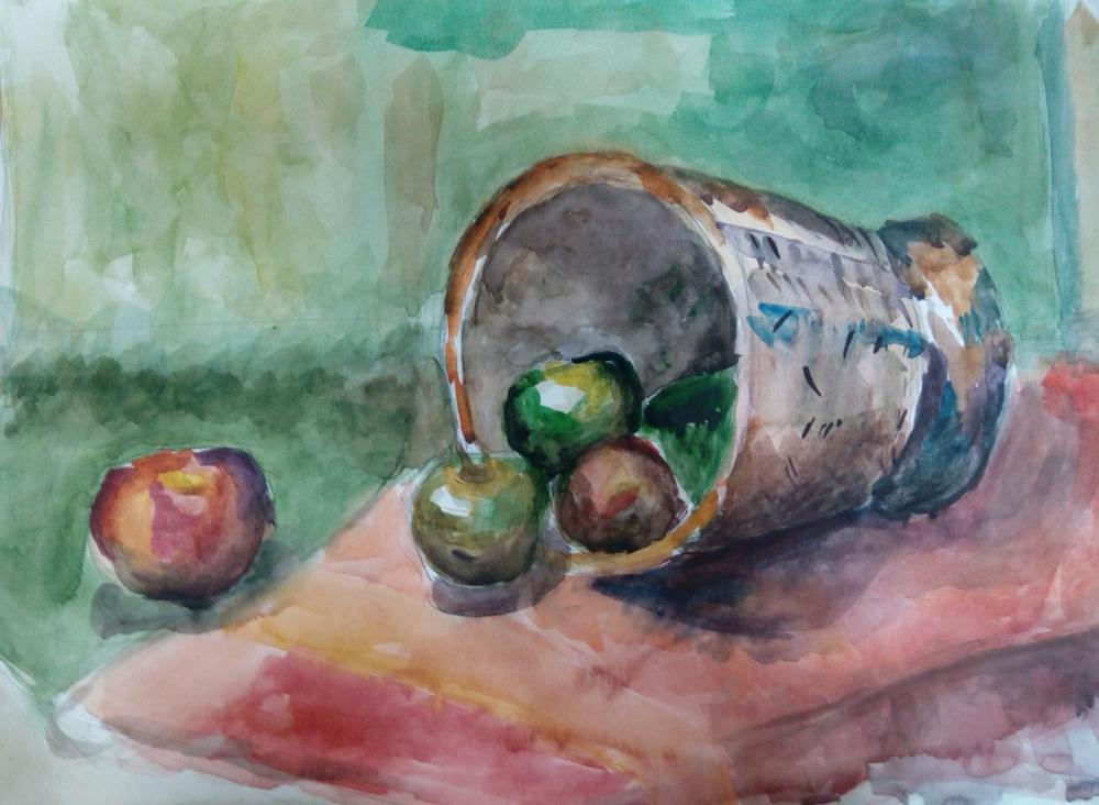 Натюрморт с яблоками. Работа ученицы школы искусств. Преподаватель Атаманова А.А.