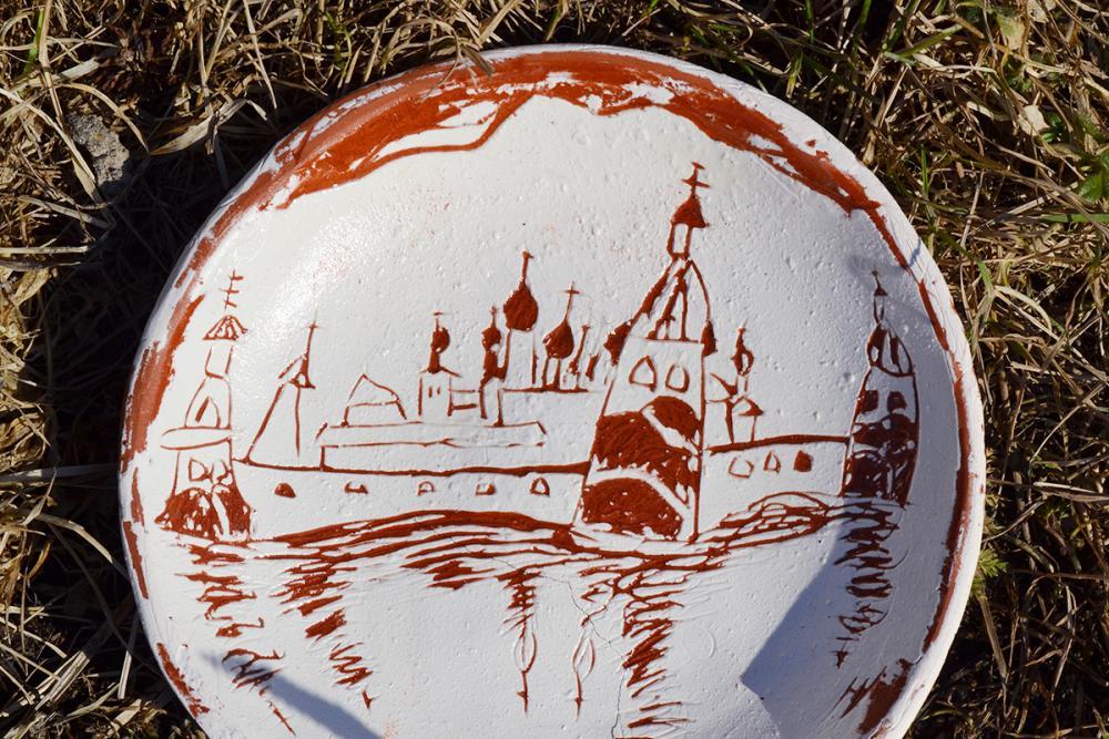 Памятная тарелочка с панорамой монастыря. Терёшина Кристина, 10 лет