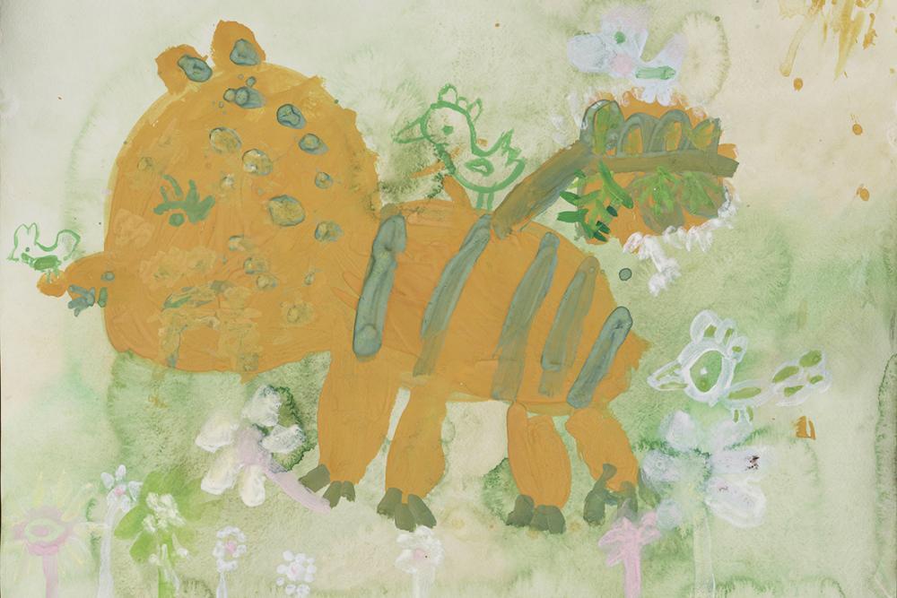Работа из серии «Весенний лев». Глаголева Кася, 5 лет
