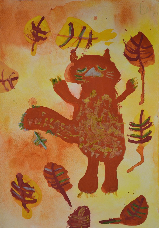 Работа из серии «Осеннее котяро». Лобанова Вика, 6 лет