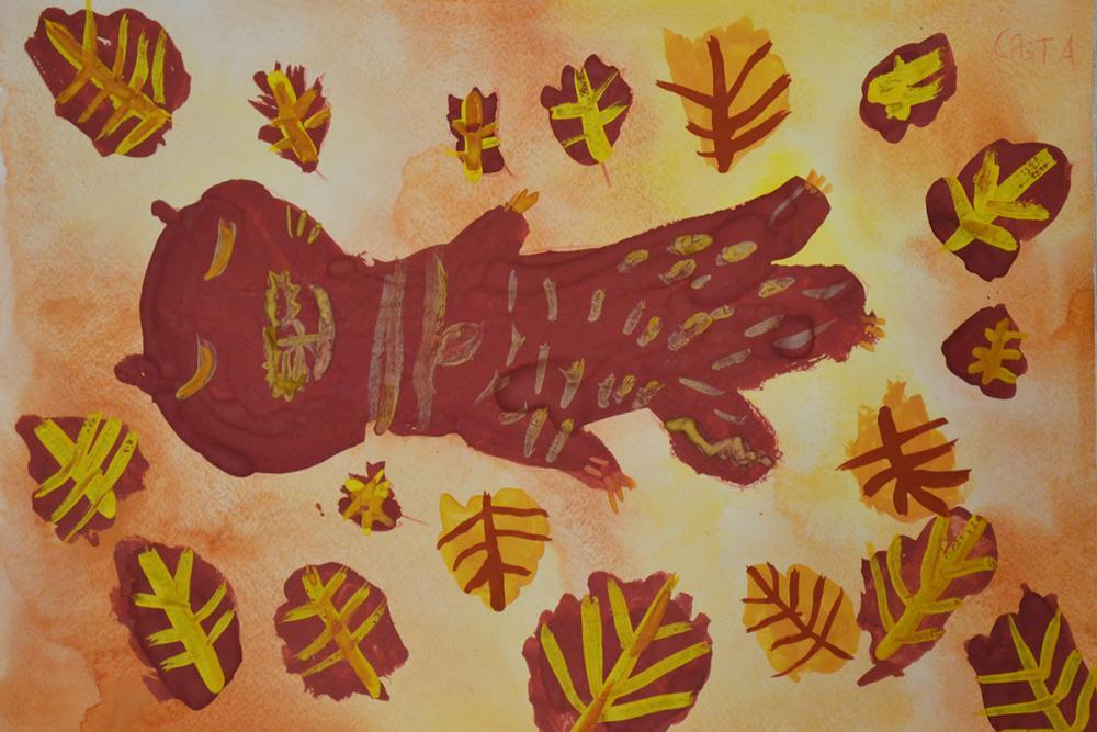 Работа из серии «Осеннее котяро». Пудова Света, 6 лет