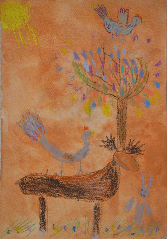 Работа из серии «Олень – древесные рога». Лобанова Вика, 6 лет